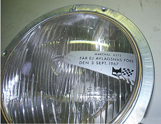 "Dagen H - Headlamp sold in Sweden not long before Dagen H. Opaque decal blocks the lens portion that would provide low beam upkick to the right, and bears warning ""Not to be removed before 3 September 1967""."