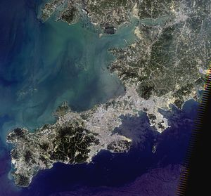 Lüshunkou District - Dalian and vicinities, Landsat 5 satellite image, 2010-08-03