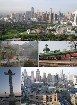 Clockwise from top: Dalian's Skyline, Lüshun Station, Zhongshan Square Xinghai Square, and Laodong Park