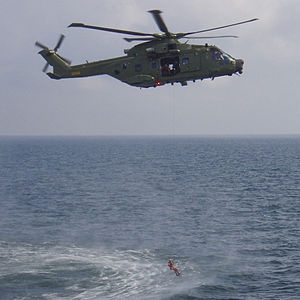 Royal Danish Air Force - Danish Air Force AW101 hoisting from water