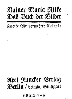 The Book of Images - The title page from the 1906 edition of Rilke's The Book of Images (Das Buch der Bilder).