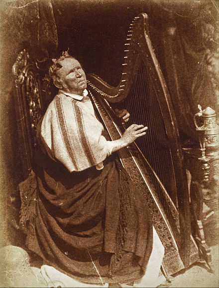 Photograph of Patrick Byrne, harper, by Hill & Adamson (1845), calotype print, 203 x 164 mm, Scottish National Gallery David Octavius Hill and Robert Adamson - Patrick Byrne, about 1794 - 1863. Irish Harpist - Google Art Project.jpg