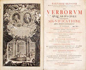 "Latinisation of names - Frontispiece of a 1743 legal text by Barnabé Brisson shows his name Latinised in the genitive Barnabae Brissonii (""of Barnabas Brissonius""). Barnabas is itself a Greek version of an Aramaic name."