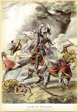 Indian leader Tecumseh killed in battle in 1813 by Richard M. Johnson, who later became Vice president Death tecumseh 1813.jpg