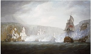 French frigate Réunion (1786) - The Action of 22 August 1795 by Nicholas Pocock
