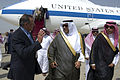 Defense.gov News Photo 120620-D-BW835-011 - Secretary of Defense Leon E. Panetta is greeted by the Chief of Royal Protocol Khaled al A Abed upon his arrival in Jeddah Saudi Arabia on June 20.jpg