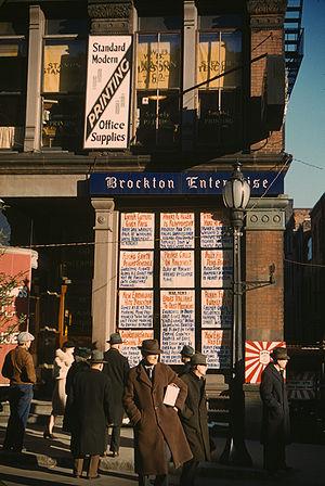 Brockton, Massachusetts - Headlines posted in street-corner window of newspaper office (Brockton Enterprise), 60 Main Street, Brockton, Massachusetts, December 1940