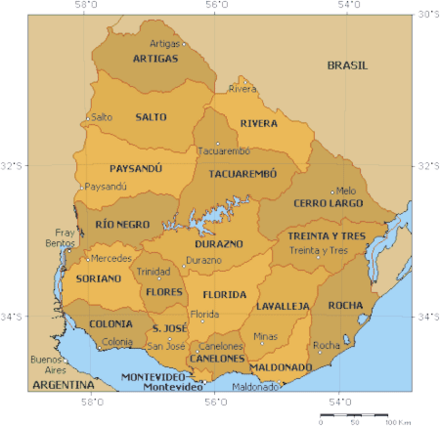 A map of the departments of Uruguay Departments of Uruguay (map).png