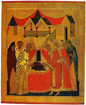 Gennadius of Constantinople - Deposition of the Robe of Virgin Mary by Gennadius and emperor Leon