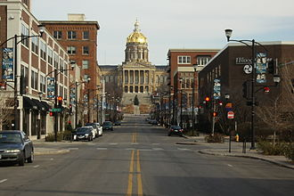 Downtown Des Moines - Looking east down Locust Street in the East Village towards the Iowa State Capitol.