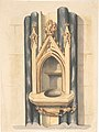 Design for baptismal font set between paired Purbeck marble columns MET DP804873.jpg