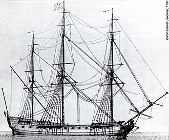 Battle of Restigouche - A 1791 drawing of the frigate Le Machault, scuttled by her crew in the Restigouche River