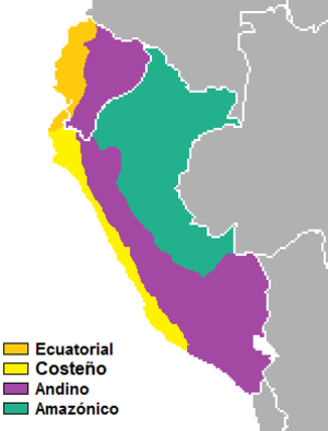 Andean Spanish - Dialectal map of Peru and Ecuador. Andean Spanish is in red.
