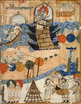 Hulagu's army attacks Baghdad, 1258. Note siege engine in foreground.