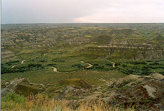 Dinosaur Provincial Park - The badlands near the entrance of the park