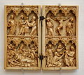 Diptych with Life of Christ, France, 14th century, ivory, lent by Metropolitan Museum of Art - Chazen Museum of Art - DSC01927.JPG
