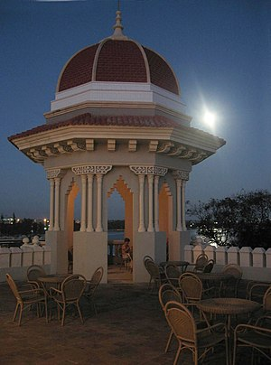 Cienfuegos - One of the turrets on the moonlit roof of Palacio de Valle
