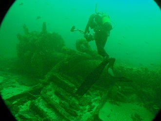HMS Birkenhead (1845) - The paddle shaft of the wreck in 2011
