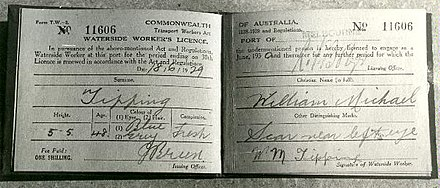 A license or 'dog collar' issued to a waterfront worker under the Transport Workers Act in 1929 Dog Collar Waterfront Licence, 1929.jpg