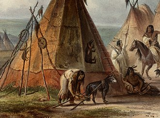 Travois - Dog with a travois in an Assiniboine camp on the Upper Missouri