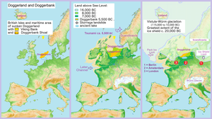Doggerland - Map showing hypothetical extent of Doggerland from Weichselian glaciation until the current situation.