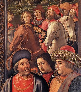 Adoration of the Magi (Ospedale degli Innocenti) - Detail of the portraits on the right.
