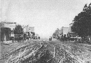 Wyatt Earp - Looking east from D Street toward Third Street in downtown San Bernardino in 1864