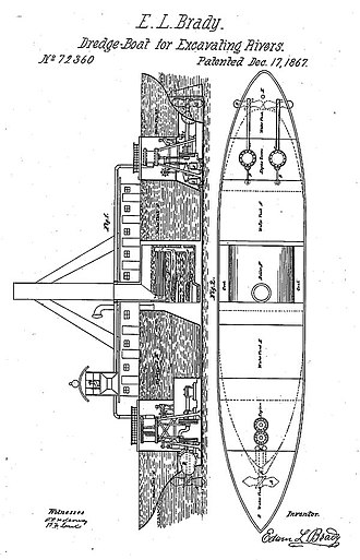 Atlantic Works v. Brady - Drawing of Brady's dredging boat, from his patent