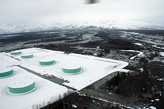 Oil storage on the Drift River, late March 2009