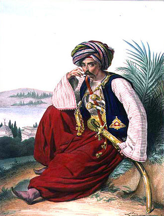 Ottoman Greece - A Muslim Greek Mamluk (Louis Dupré, oil on canvas, 1825)