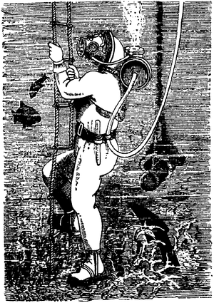 Timeline of diving technology - Diving set by Rouquayrol and Denayrouze with barrel-shaped air tank on the diver's back, depicted here in its surface-supplied configuration.