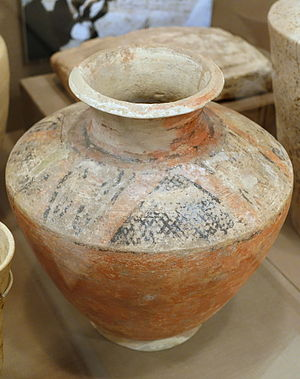 Early Dynastic Period (Mesopotamia) - Scarlet Ware Pottery excavated in the Diyala River Valley Region. It is dated to either the Late Jemdet Nasr or Early ED I period. This particular artifact is currently located in the University of Chicago Oriental Institute.