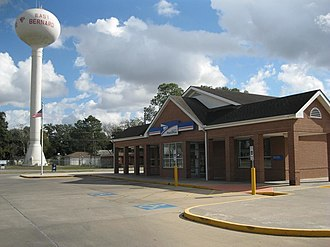 East Bernard, Texas - US post office and water tower at Church and Leveridge