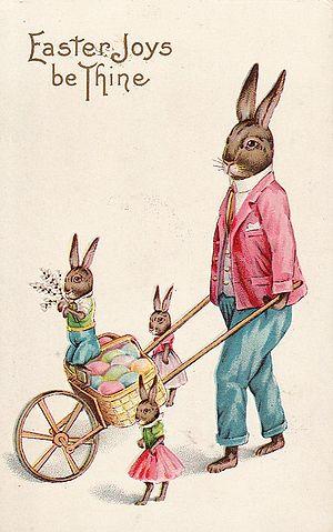 Easter postcard - Image: Easter Bunny Postcard 1915 Stecher