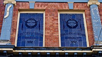 Ballarat East, Victoria - The window of the old Eastern Station Hotel. The building is now a pub and backpackers.