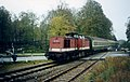 Einfahrt, Bahnhof Plau am See, DB ex- DR 202 329-9 mit Personenzug, Strecke Güstrow–Meyenburg October 1994 - Flickr - sludgegulper.jpg