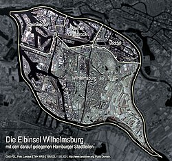 Aerial photo of the island Wilhelmsburg