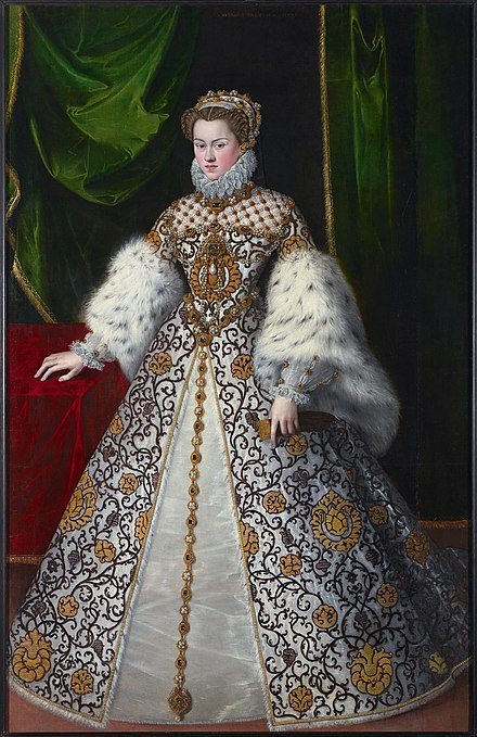 Elisabeth as queen of France, ca. 1574, by Jooris van der Straaten. Elisabeth of Austria Queen of France by Jooris van der Straaten - 1570s .jpg