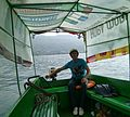 Elvis loving Macedonia Boat Captain Risto in James Dean Shirt Ohrid Macedonia (10312601356).jpg