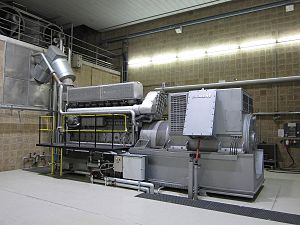 Emergency power system - Emergency power electric generator in a water purification plant, driven by a marine propulsion diesel engine