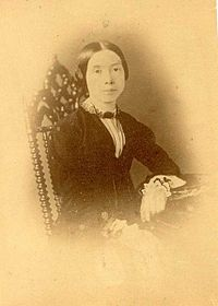 Emily Dickinson, sometime around 1850, (supposed to be) the second and only other known photo of her.  Curators at the Emily Dicksinon Museum deny its authenticity.