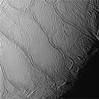 Tiger stripes (Enceladus) - Cassini view of Enceladus's south pole. The tiger stripes, from lower left to upper right, are the Damascus, Baghdad, Cairo, Alexandria and Camphor sulci.