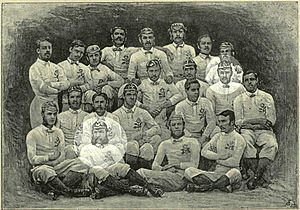 West Kent Football Club - 1871 England squad with West Kent players A. G. Guillemard and J. F. Green highlighted