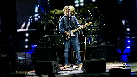 Eric Clapton performing on stage at the Royal Albert Hall in May 2017 Eric Clapton - Royal Albert Hall - Wednesday 24th May 2017 EricClaptonRAH240517-4 (34987270555).jpg