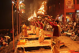 Evening Ganga Aarti at Dashashwamedh Ghat.JPG