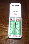 Eveready rechargeable battery charger with AA rechargeable NiMH inserted in charger.JPG