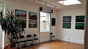 Butetown History and Arts Centre - One of the Exhibition Rooms at the BHAC, currently being used as an Art Gallery