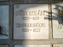 Description de l'image  Füst Milán sírja.jpg.
