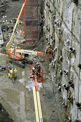 Tieback (geotechnical) - Tiebacks to reinforce a slurry wall at Ground Zero, NY