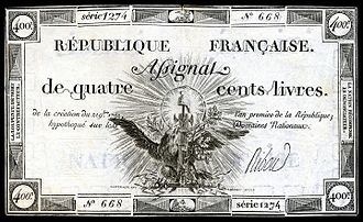 Assignat - Assignat from the 1792 issue: 400 livres